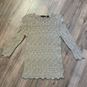 Jeanne Pierre Crochet Sweater Size Small